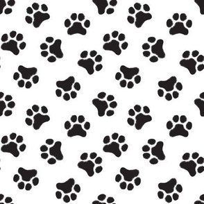 small black pawprints on white
