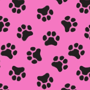 large black paw prints on hot pink