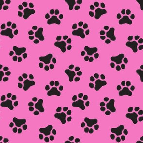 small black pawprints on hot pink
