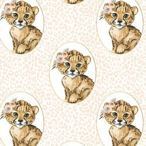 "4"" Amala the Cub Ivory Cheetah Print"