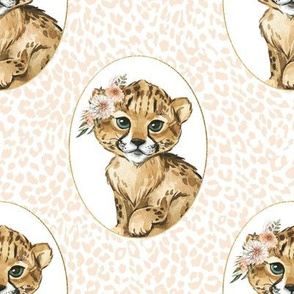 "8"" Amala the Cub Ivory Cheetah Print"