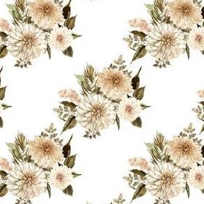 "4"" Savanna Florals Sepia White Back"