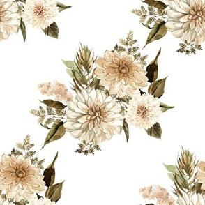 "8"" Savanna Florals Sepia White Back"