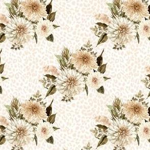 "4"" Savanna Florals Sepia with Ivory Cheetah Print"