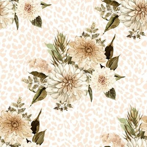 "8"" Savanna Florals Sepia with Ivory Cheetah Print"