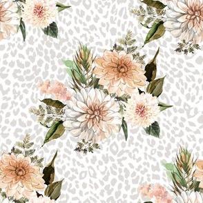 "8"" Savanna Florals with Grey Cheetah Print"
