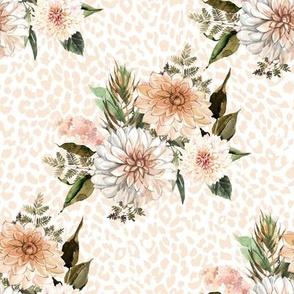 "8"" Savanna Florals with Ivory Cheetah Print"