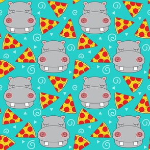 medium hippos with pizza on teal
