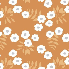 Buttercup daisies boho garden summer cinnamon brown ochre yellow