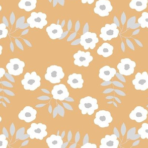 Buttercup daisies boho garden summer gray white brown ochre yellow