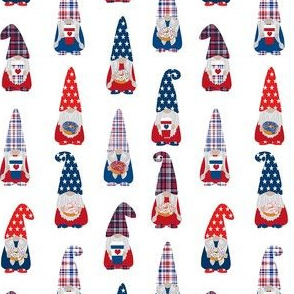 usa patriotic gnome fabric - white