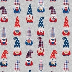 usa patriotic gnome fabric - grey