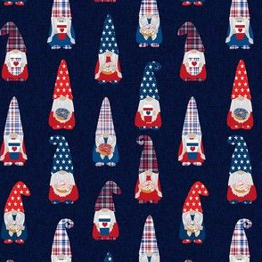 usa patriotic gnome fabric - navy