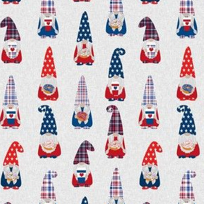 usa patriotic gnome fabric - light grey