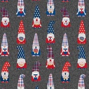 usa patriotic gnome fabric - charcoal
