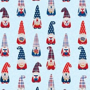 usa patriotic gnome fabric - july 4 light blue