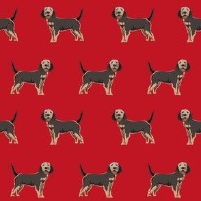 otterhound dog fabric - red