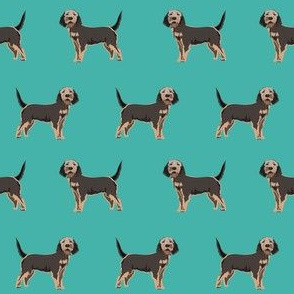 otterhound dog fabric - turquoise