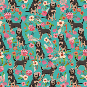 otterhound floral fabric - turquoise