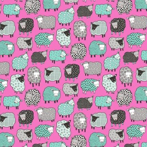Sheep Geometric Patterned Black & White Grey  Mint Green on Dark Pink Tiny Small 1 inch