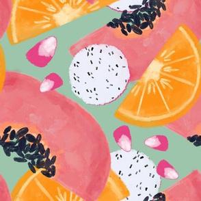 Summer fruits - Green & pink