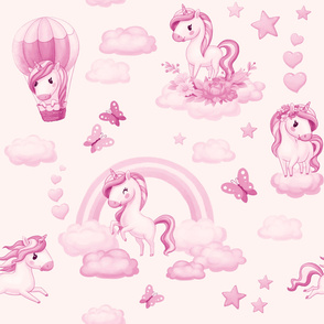 Unicorns on the clouds, baby pattern