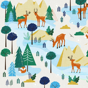 Fallow deer in the forest ( blue)