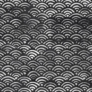 Japanese Ocean Waves in Charcoal Grey (xl scale) | Block print pattern, Japanese waves Seigaiha pattern in dark gray.