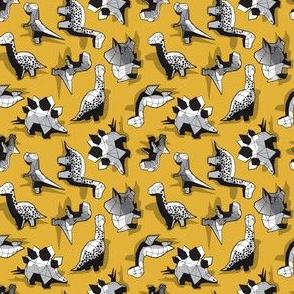 Super tiny scale // Geometric Dinos // non directional design mustard yellow background black and white dinosaurs