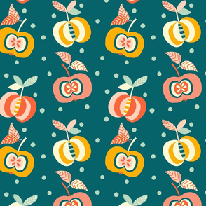 simply happy apples geometric // teal // medium scale
