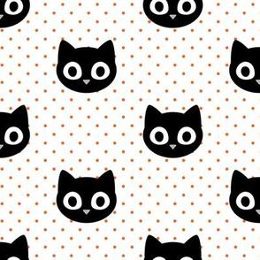black cats - orange on white polka dots  - cute halloween black cats - LAD20