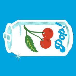 Cherry Pop! Tea Towel* (Sky)    cut and sew diy kitchen pop art soda can halftones star fruit leaves