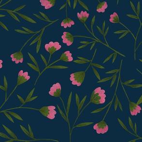 Floral pattern dark blue background