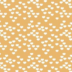 Little lovers small hearts basic minimal trend heart boho print forest ochre yellow