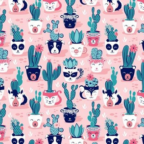 Tiny scale // Cacti and succulents cuddly pots // pink background navy white and rose animal vessels green teal cactus