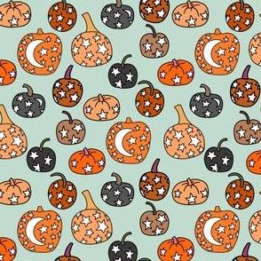 SMALL night sky pumpkins - stars and moon mystical halloween fabric - mint
