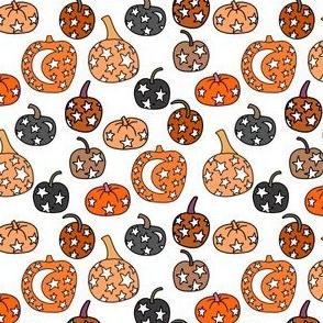 SMALL night sky pumpkins - stars and moon mystical halloween fabric - white