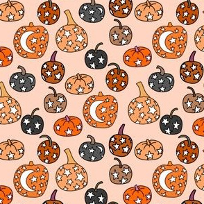 SMALL night sky pumpkins - stars and moon mystical halloween fabric - peach