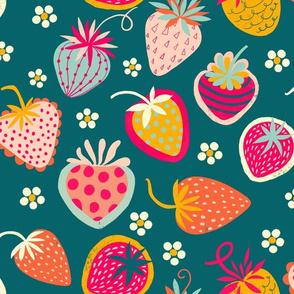sweet strawberries //  teal // medium scale