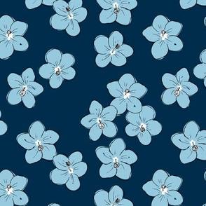 Tropical Hawaii island vibes hibiscus flower garden summer design navy blue boys