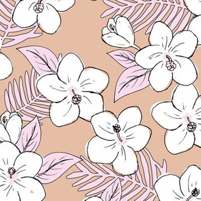 Boho hibiscus blossom and palm leaves Hawaii tropical summer garden nursery latte beige soft pink