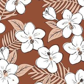 Boho hibiscus blossom and palm leaves Hawaii tropical summer garden nursery rust brown beige latte neutral