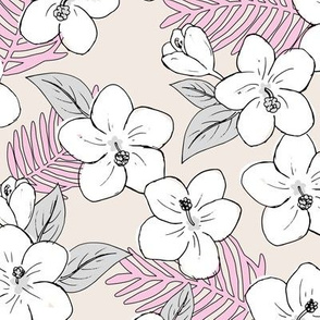 Boho hibiscus blossom and palm leaves Hawaii tropical summer garden nursery sand beige pink gray girls