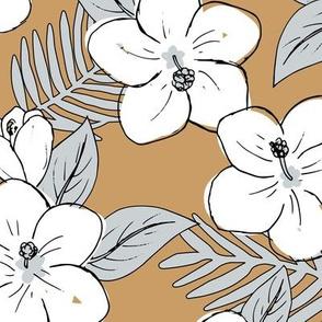 Boho hibiscus blossom and palm leaves Hawaii tropical summer garden nursery white cinnamon brown gray