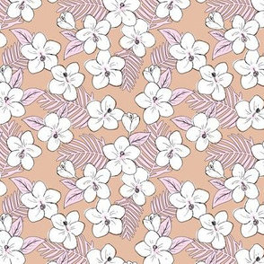Boho hibiscus blossom and palm leaves Hawaii tropical summer garden nursery latte beige soft pink SMALL
