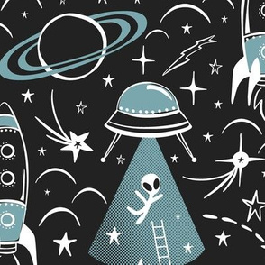 Out Of This World Toile - Black & Dusty Aqua Large Scale