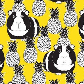 black and white guinea pigs and pineapples on yellow