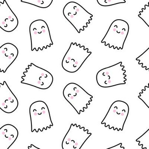 cute ghost - halloween kids happy ghost - black and white - LAD20
