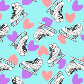 Ice skates and pink and purple hearts - blue