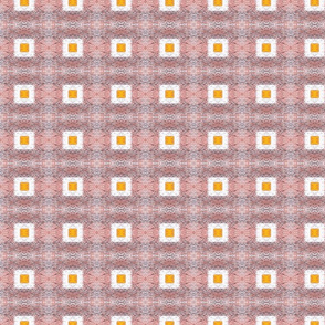 Squares with Middles -pixilated  white with yellow
